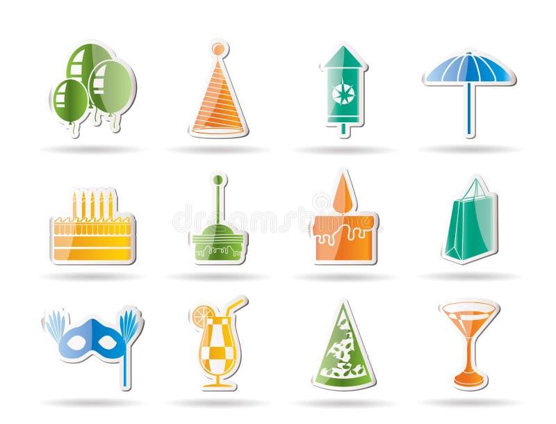Ícones do partido e dos feriados ilustração royalty free
