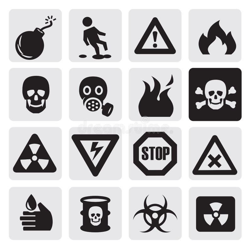 Ícones do perigo ilustração do vetor