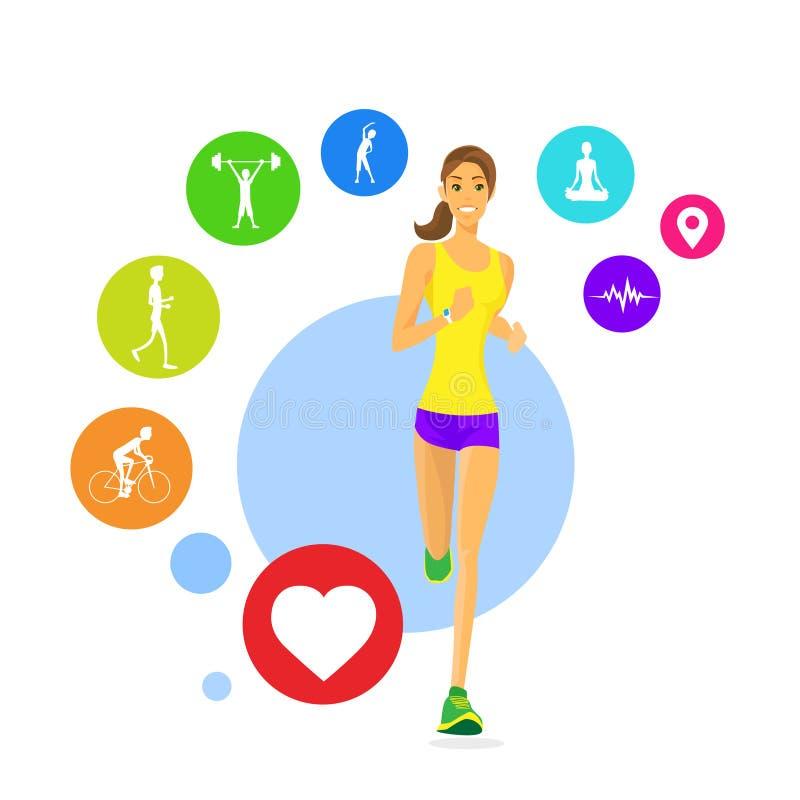 Ícones do perseguidor do App da aptidão da corrida da mulher do esporte Wearable ilustração stock