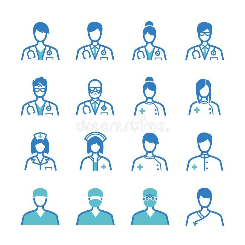 Ícones do pessoal médico ajustados ilustração do vetor