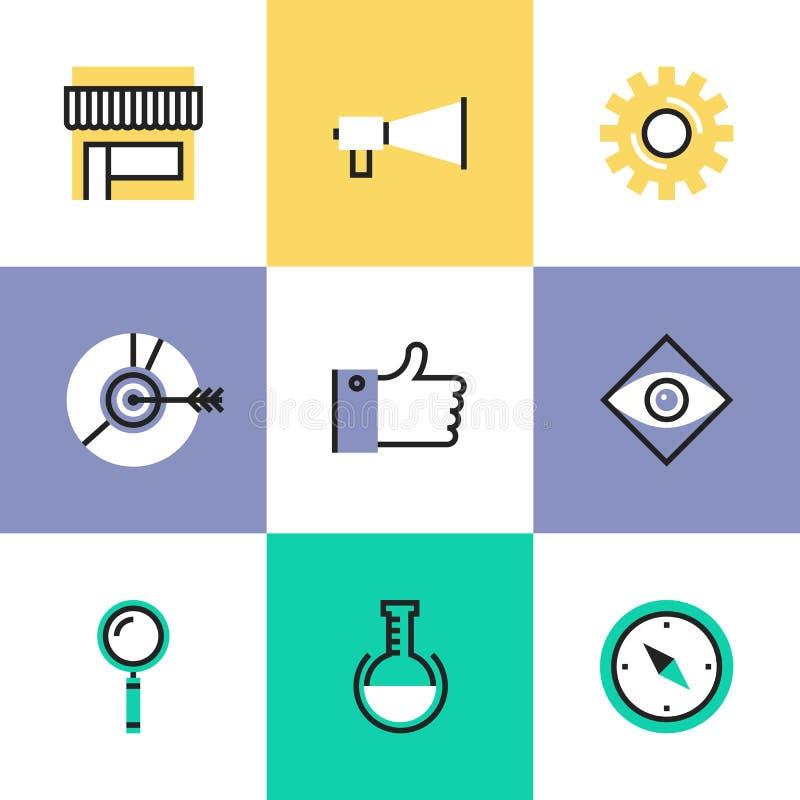 Ícones do pictograma do mercado de Digitas ajustados ilustração stock