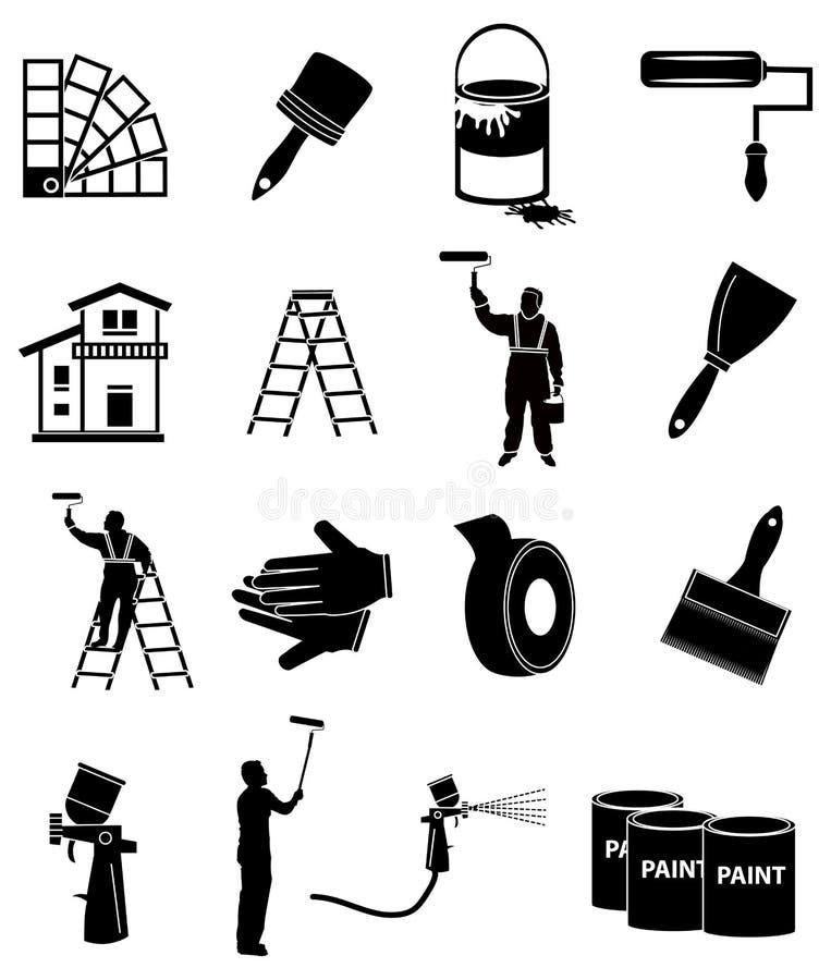 Ícones do pintor de casa ajustados ilustração stock
