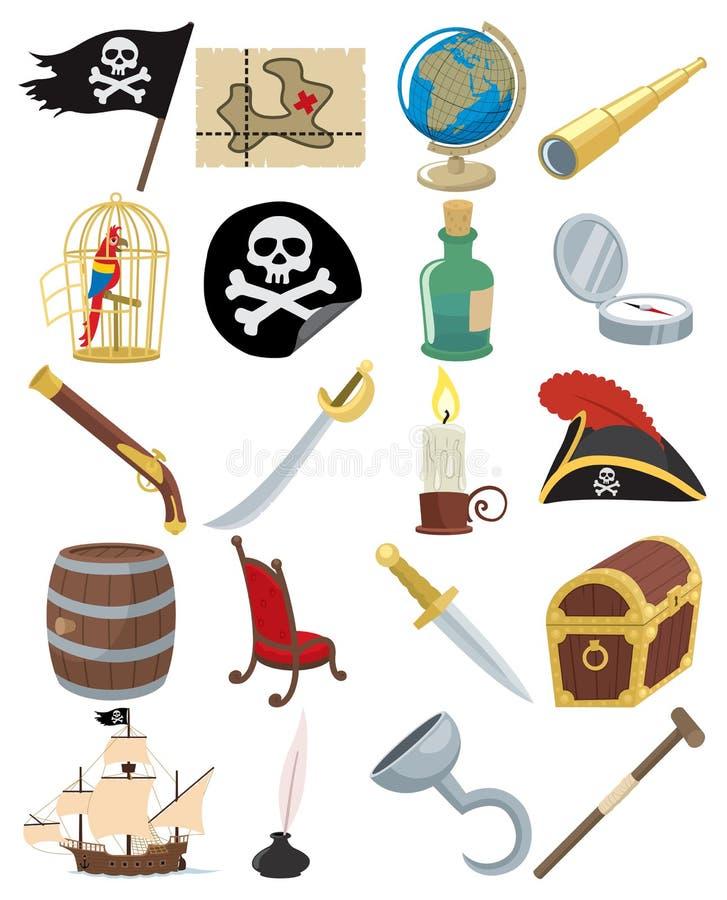 Ícones do pirata ilustração royalty free
