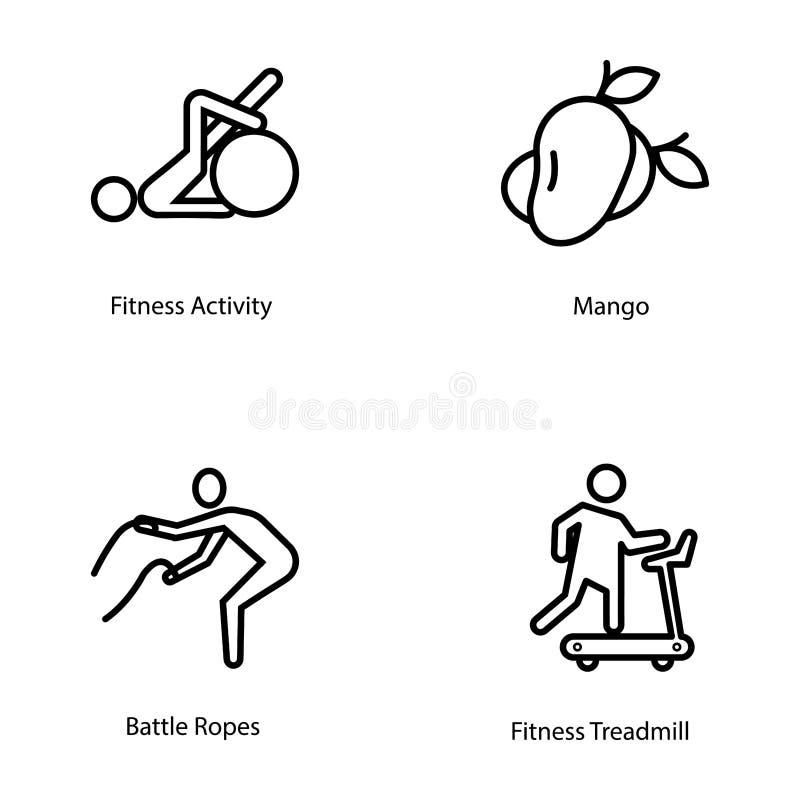 Ícones do plano do exercício e da dieta ilustração stock