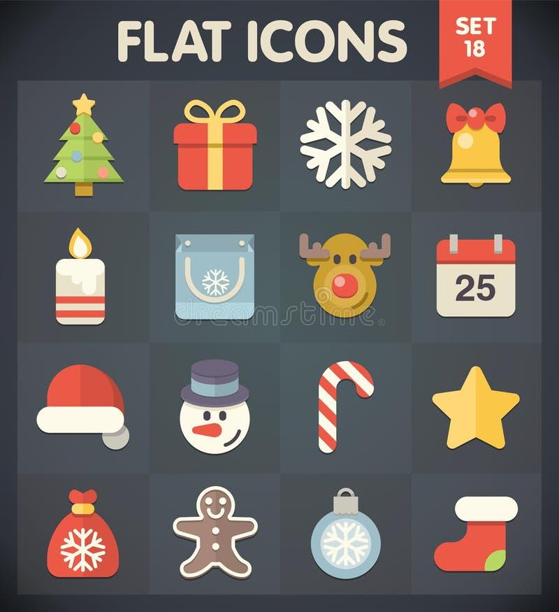 Ícones do plano universal para o Natal ilustração stock
