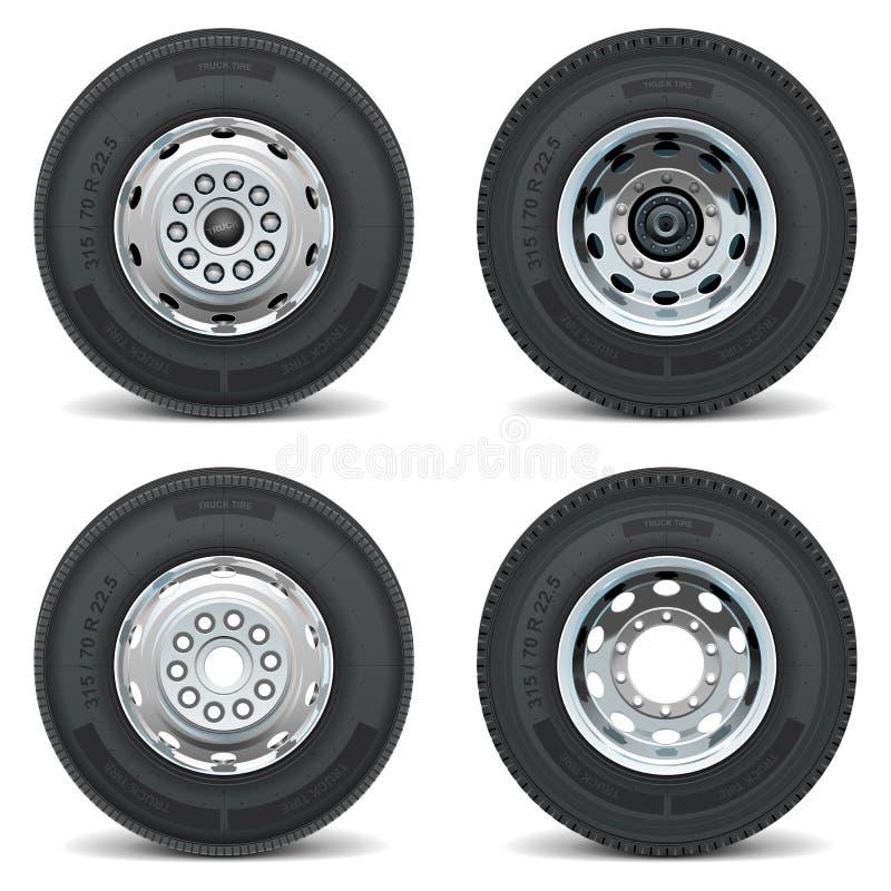 Ícones do pneu do caminhão do vetor ilustração royalty free
