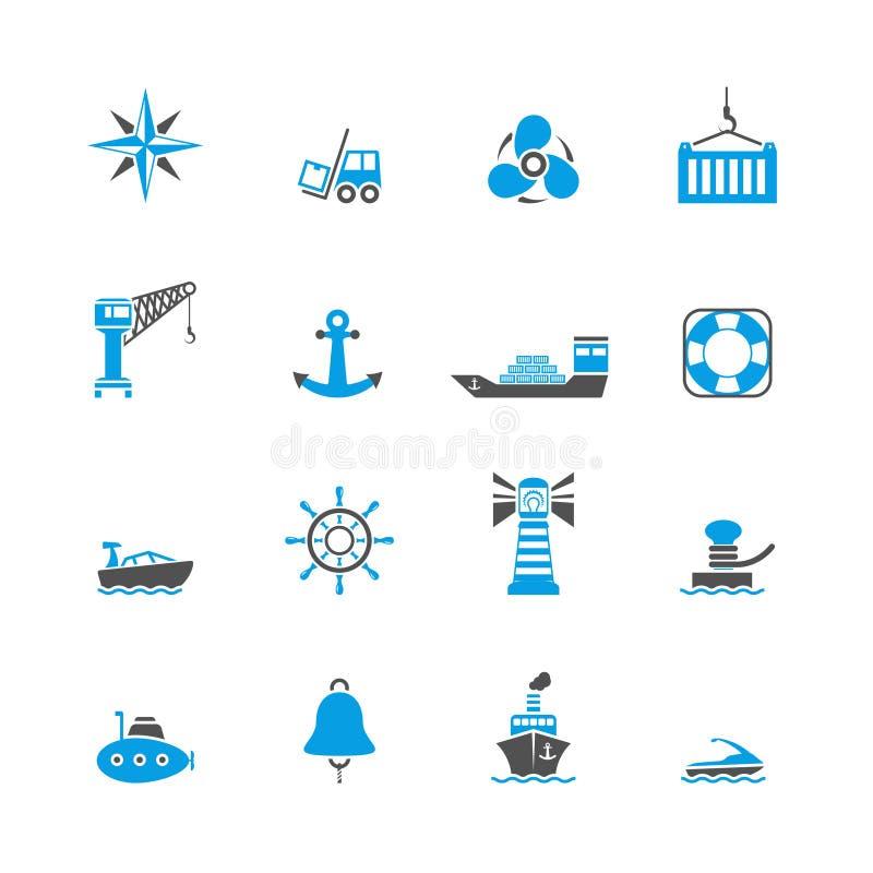 Ícones do porto marítimo ajustados ilustração royalty free