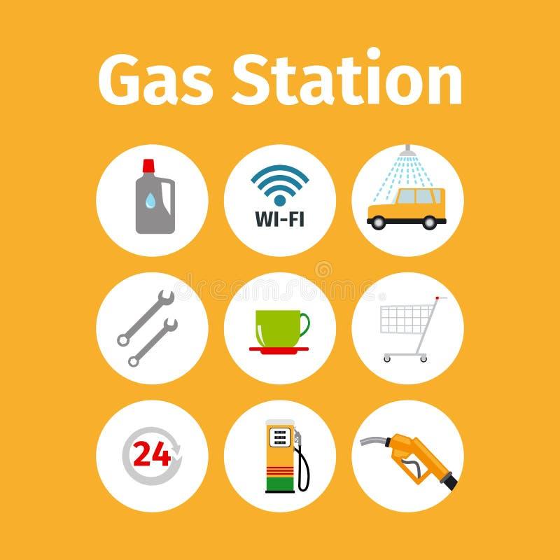 Ícones do posto de gasolina no grupo do círculo ilustração do vetor
