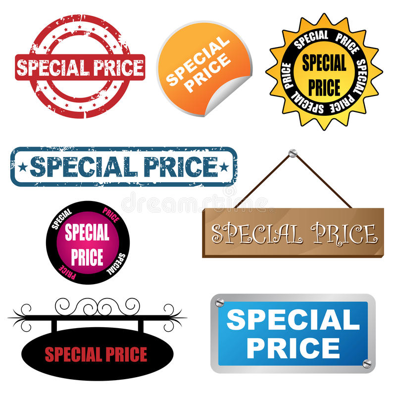 Ícones do preço especial ilustração do vetor