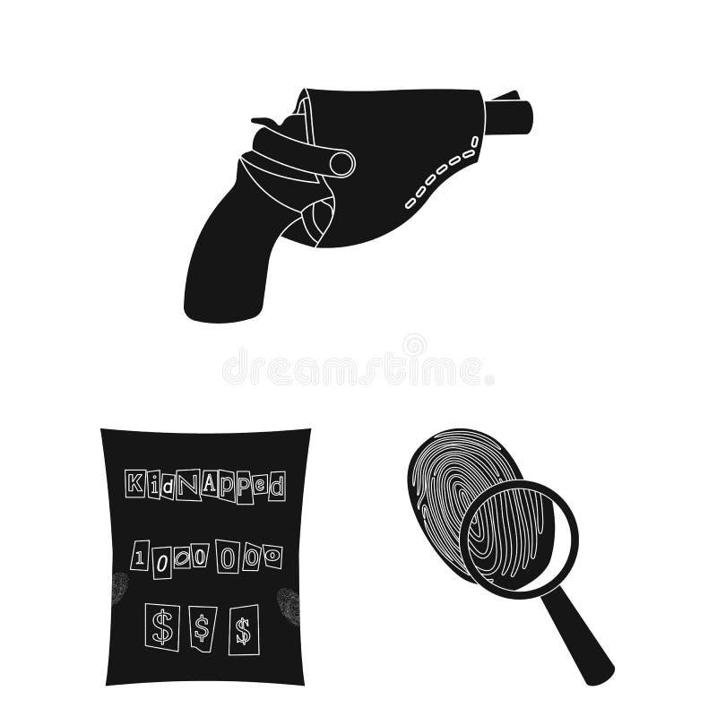 Ícones do preto da agência de detetive na coleção do grupo para o projeto O crime e a investigação vector a ilustração conservada ilustração stock