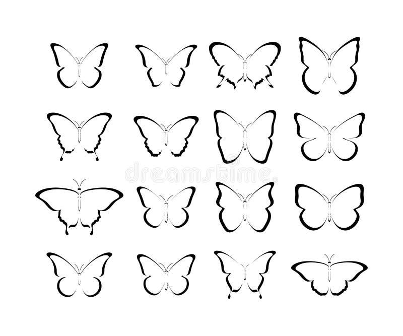 Ícones do preto da borboleta Borboletas do preto da coleção Borboletas pretas isoladas ?cones da borboleta ilustração stock