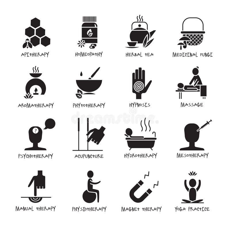 Ícones do preto da medicina alternativa ajustados ilustração stock
