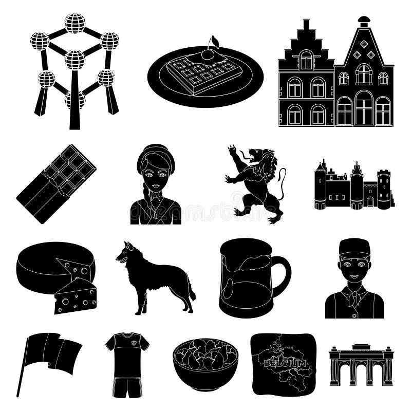 Ícones do preto de Bélgica do país na coleção do grupo para o projeto O curso e as atrações Bélgica vector a Web conservada em es ilustração stock