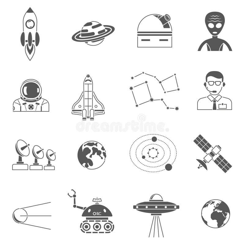 Ícones do preto do cosmos do espaço ajustados ilustração stock