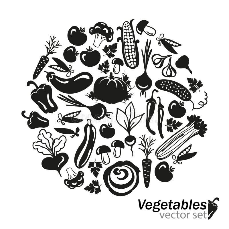 Ícones do preto do vetor dos vegetais no fundo branco ilustração stock