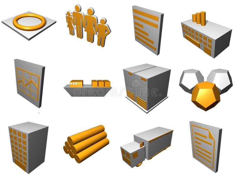Ícones do processo da logística para o diagrama da cadeia de aprovisionamento mim ilustração stock