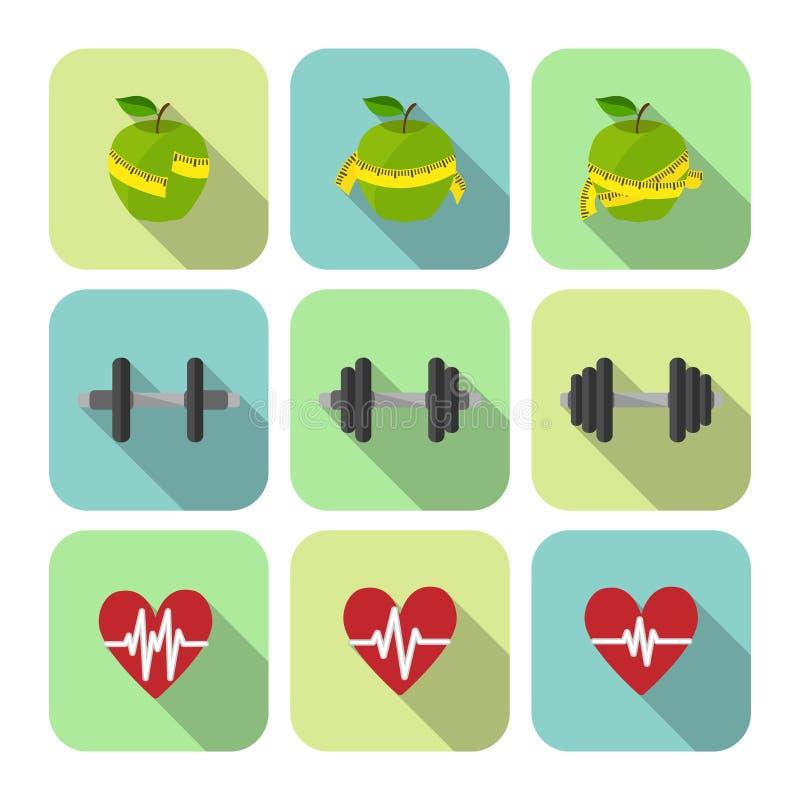 Ícones do progresso dos exercícios do esporte da aptidão ajustados ilustração stock