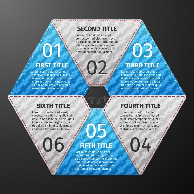 Ícones do progresso para seis etapas ilustração royalty free