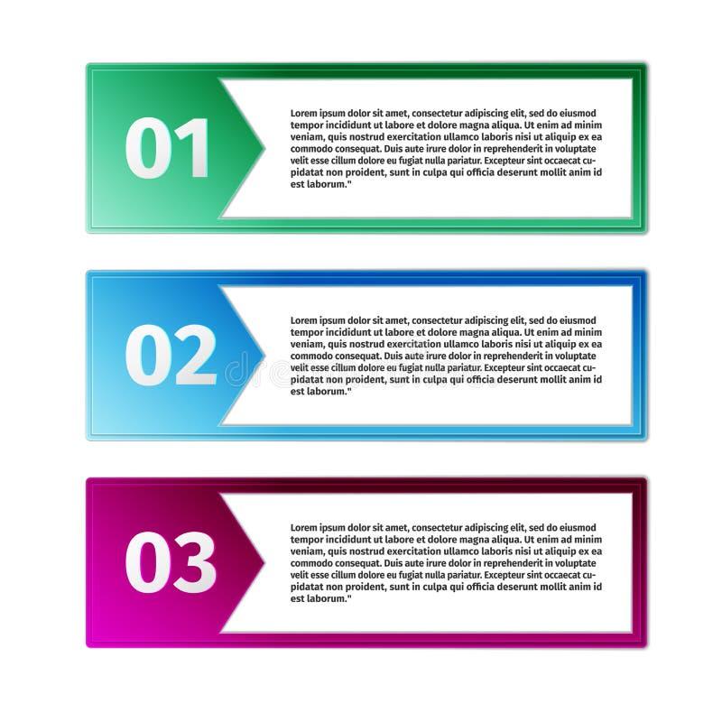 Ícones do progresso para três etapas ilustração do vetor