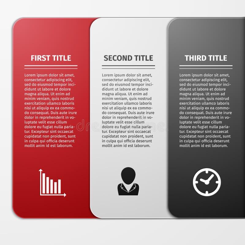 Ícones do progresso para três etapas ilustração royalty free