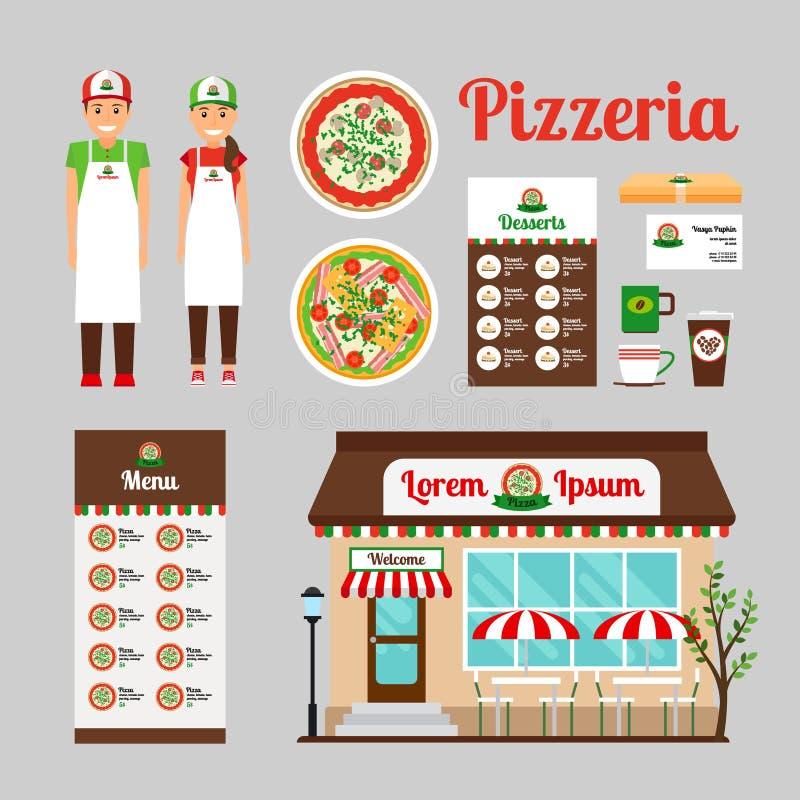 Ícones do projeto da parte dianteira do café da pizza ajustados ilustração royalty free