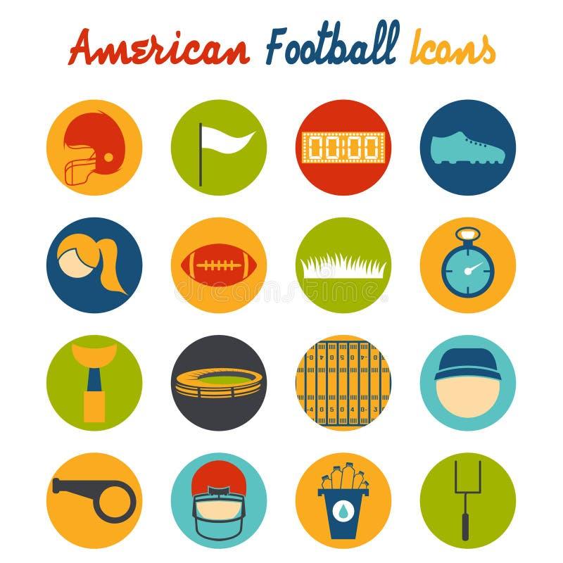 ícones do projeto do futebol americano ilustração stock