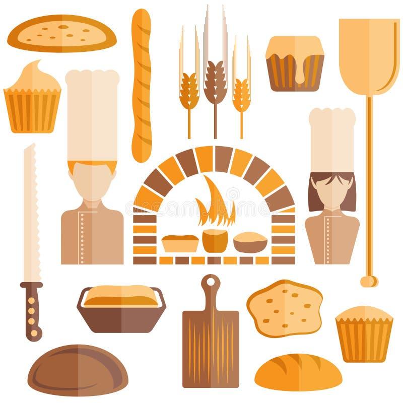 ícones do projeto do tema da padaria ilustração do vetor