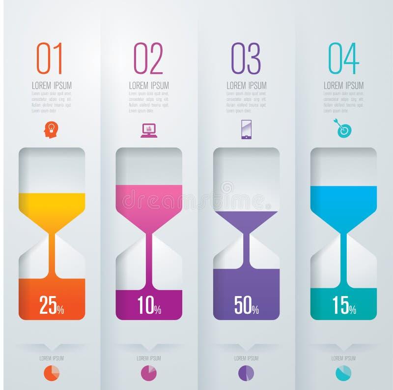 Ícones do projeto e do negócio de Infographic com 4 opções ilustração stock