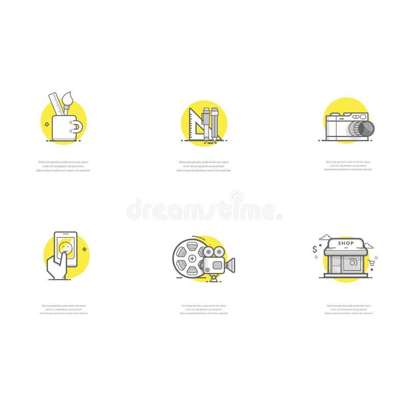Ícones do projeto gráfico foto de stock