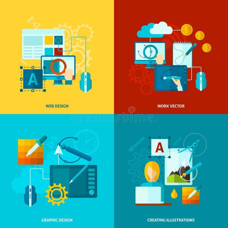 Ícones do projeto gráfico lisos ilustração royalty free
