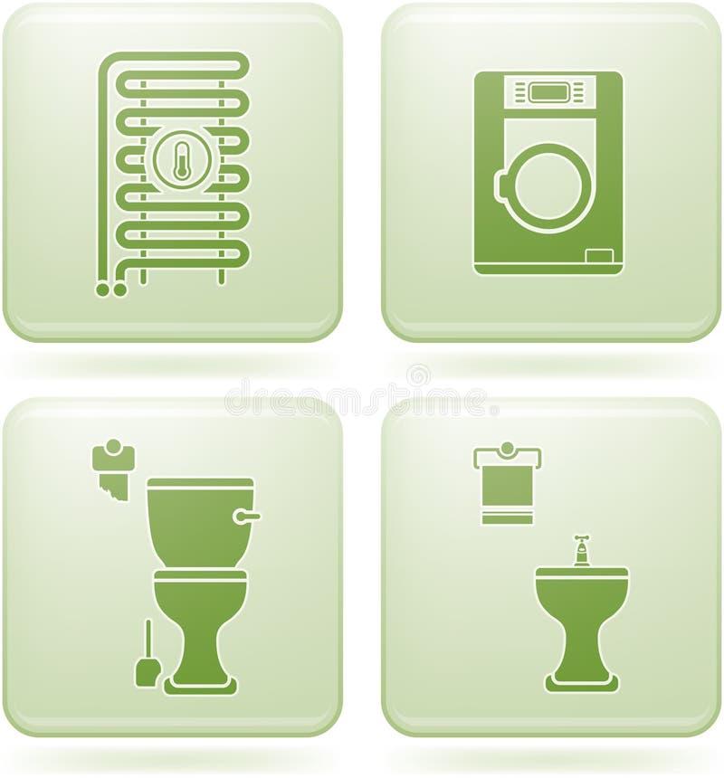 Ícones do quadrado do cobalto 2D ajustados: Banheiro ilustração royalty free
