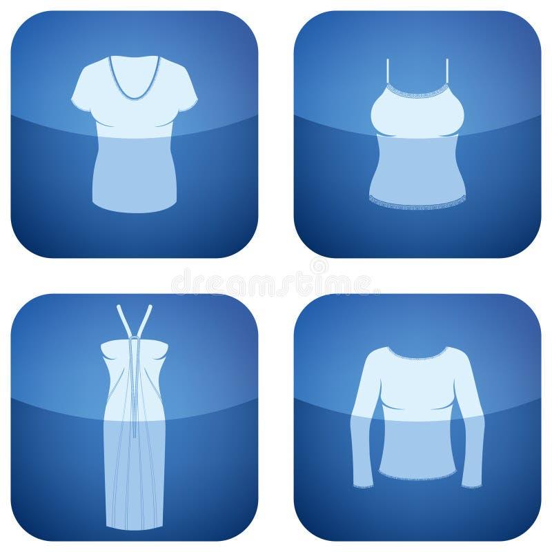 Ícones do quadrado do cobalto 2D ajustados: Roupa da mulher ilustração do vetor