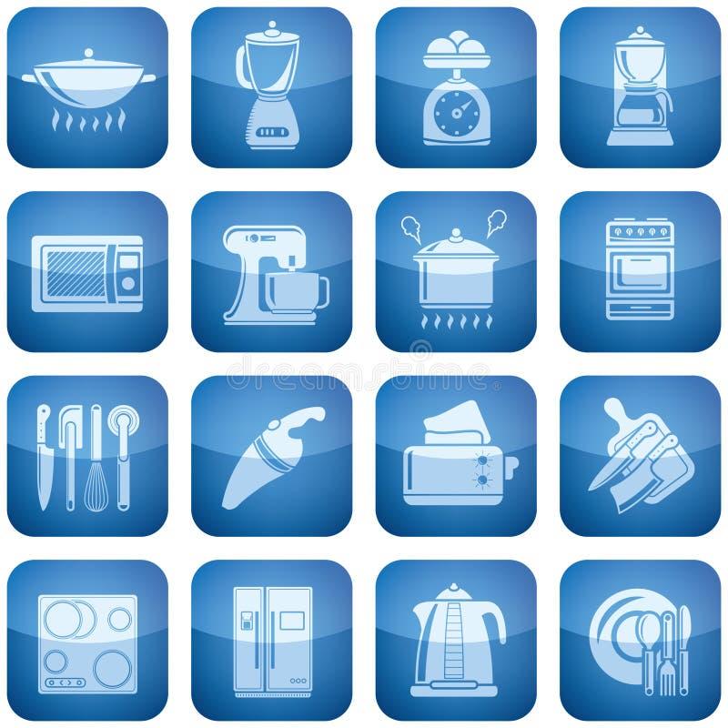 Ícones do quadrado do cobalto 2D ajustados: Utensílios da cozinha ilustração royalty free
