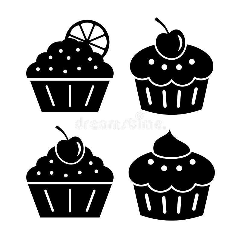 Ícones do queque ajustados ilustração royalty free