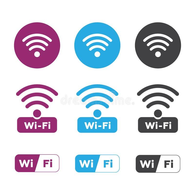 Ícones do rádio e do wifi Ícone do wifi do símbolo da rede wireless fio ilustração royalty free