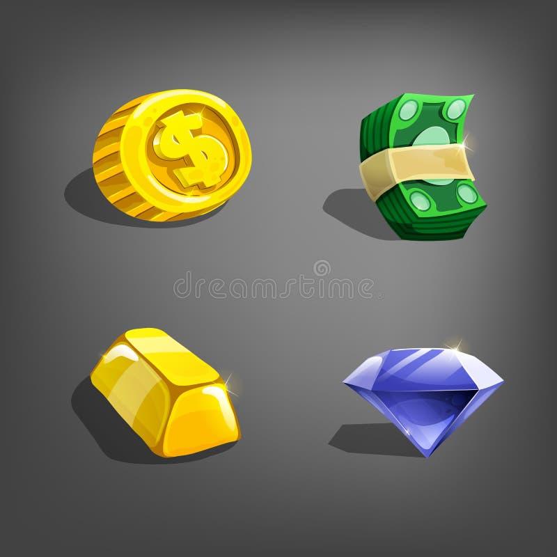 Ícones do recurso dos desenhos animados para a interface de utilizador do jogo ilustração royalty free
