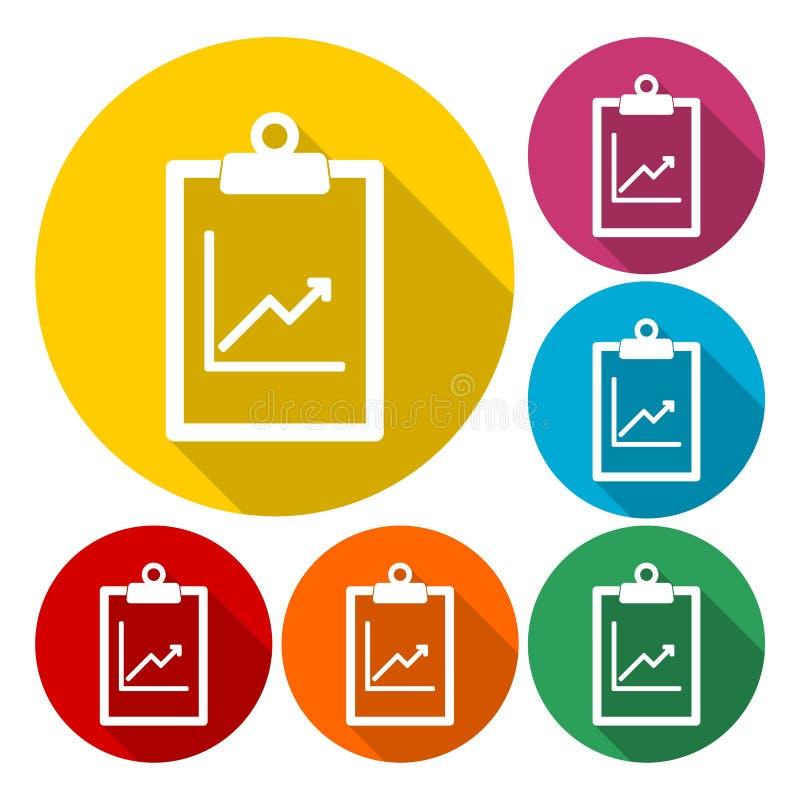 Ícones do relatório comercial ajustados ilustração stock
