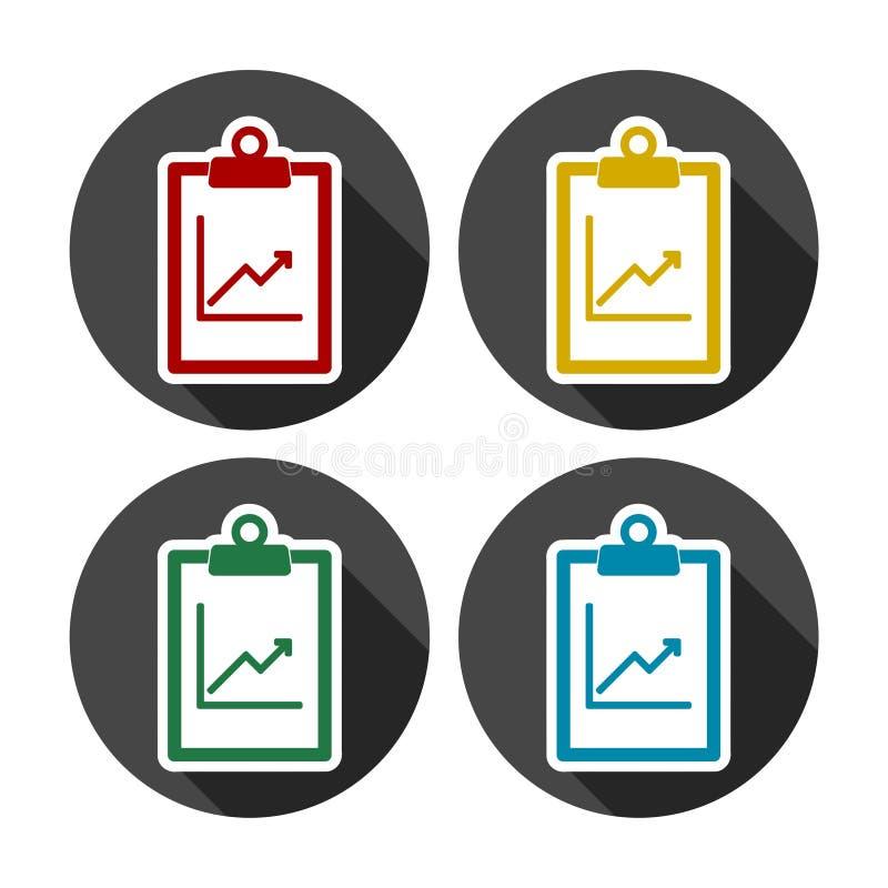 Ícones do relatório comercial ajustados ilustração do vetor