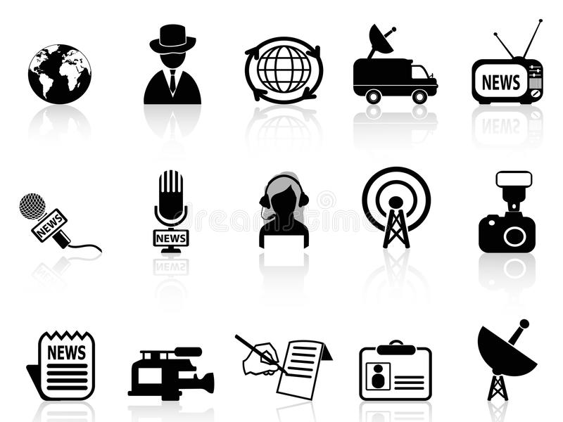 Ícones do repórter da notícia ajustados ilustração stock