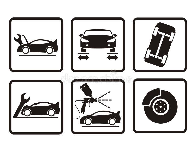 Ícones do reparo do carro ilustração stock