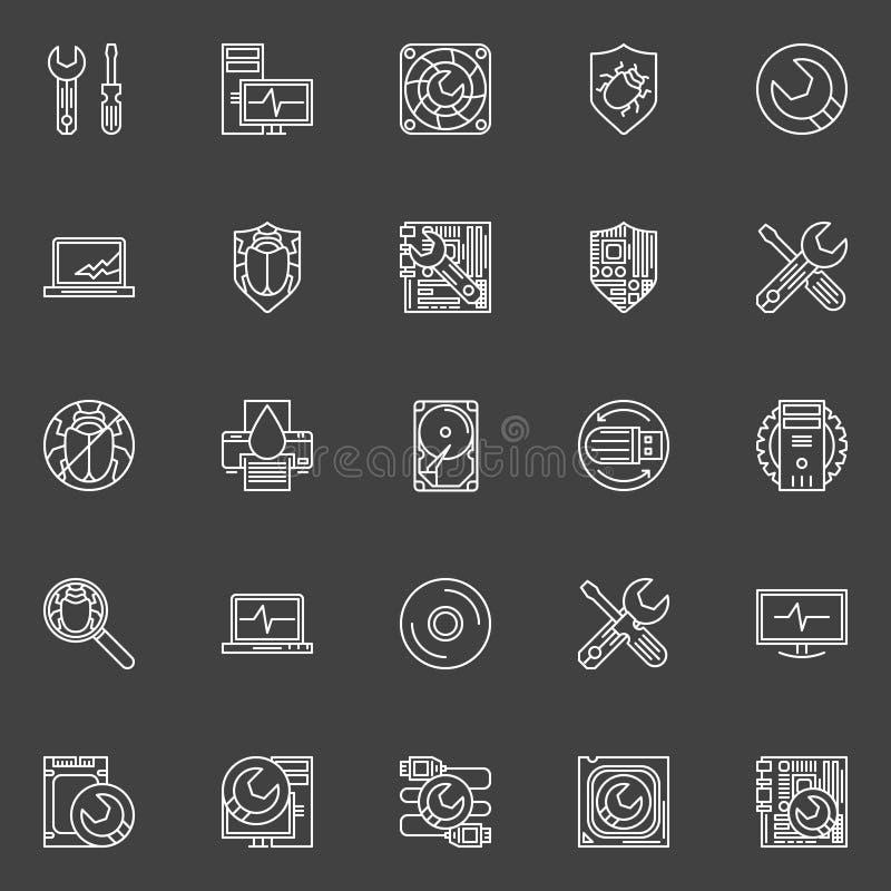Ícones do reparo do computador ilustração stock