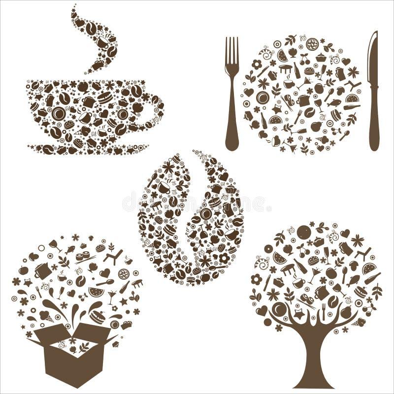 Ícones do restaurante ilustração do vetor
