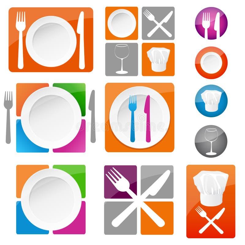 Ícones do restaurante ilustração stock