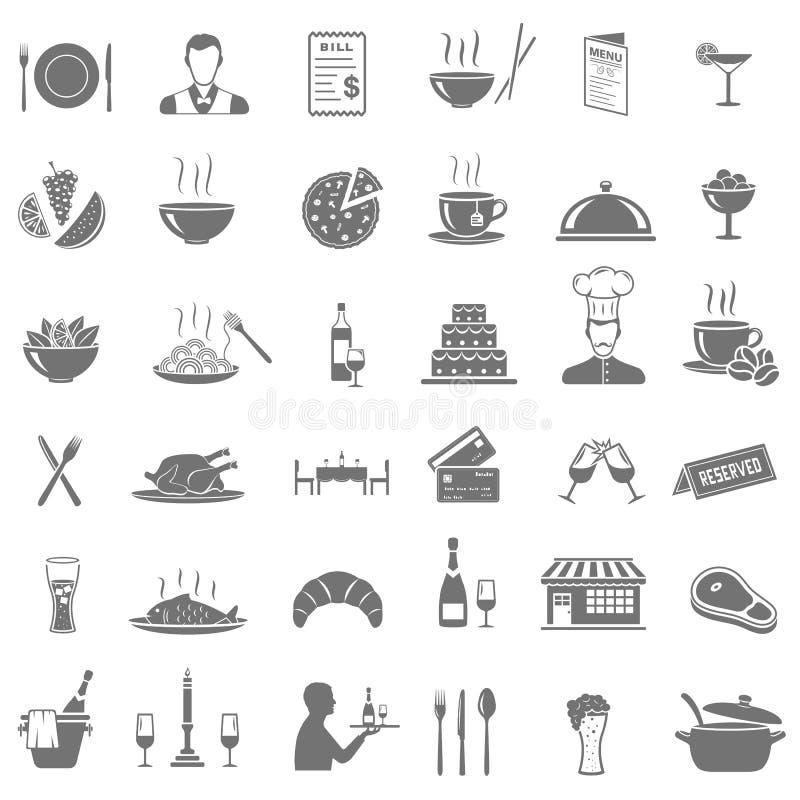 Ícones do restaurante ajustados ilustração do vetor