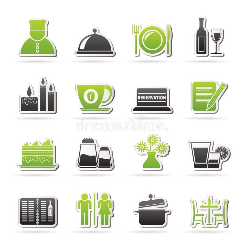 Ícones do restaurante, do café e da barra ilustração stock