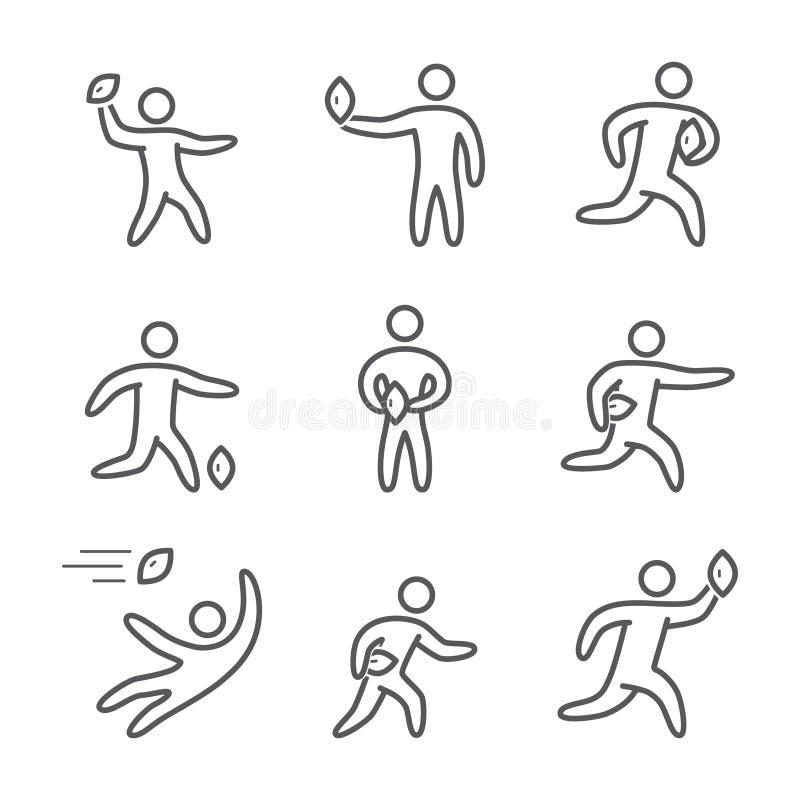 Ícones do rugby do esboço e do futebol americano ilustração royalty free