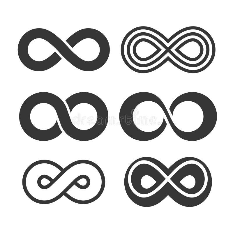 Ícones do símbolo da infinidade ajustados Vetor ilustração royalty free