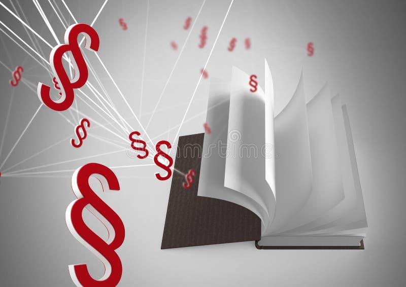 ícones do símbolo da seção 3D e páginas de giro do livro ilustração do vetor