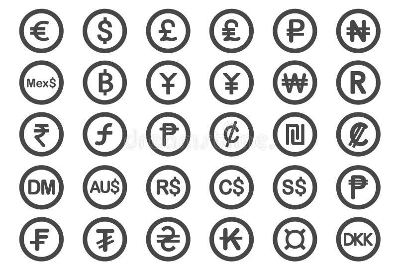 Ícones do símbolo de moeda ilustração royalty free