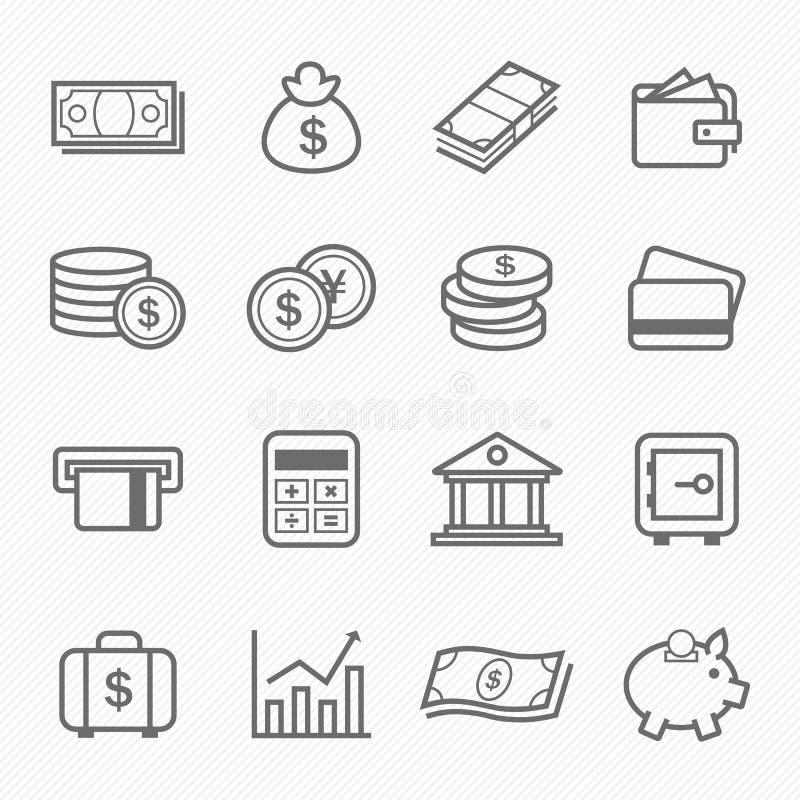 Ícones do símbolo do curso do esboço da finança e do dinheiro ilustração do vetor